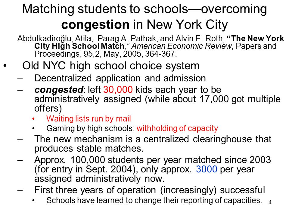 4 Matching students to schools—overcoming congestion in New York City Abdulkadiroğlu, Atila, Parag A.