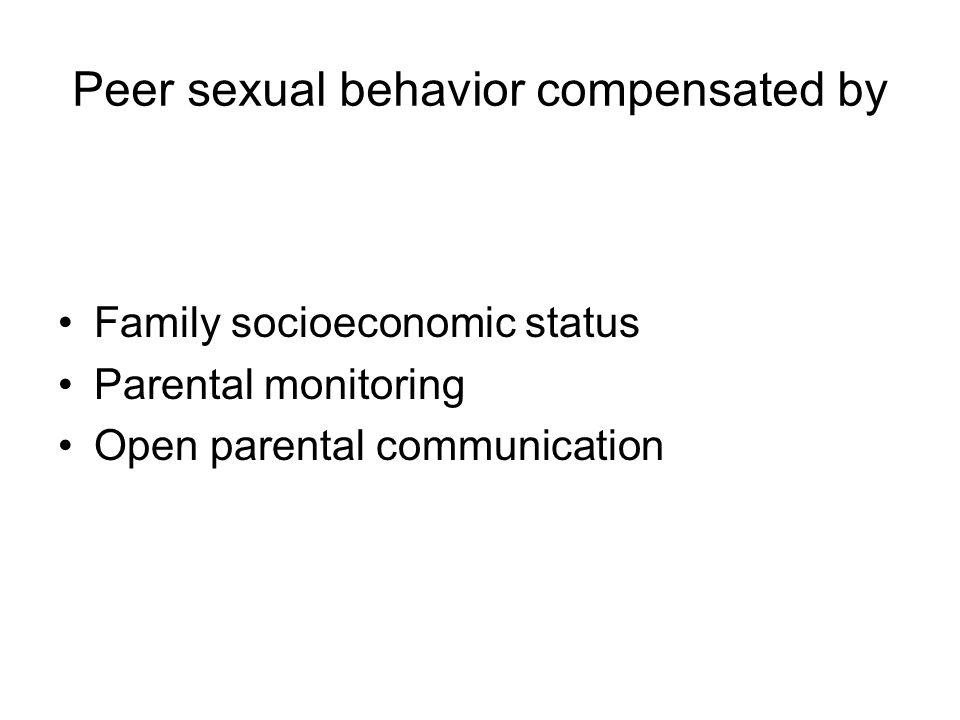 Peer sexual behavior compensated by Family socioeconomic status Parental monitoring Open parental communication