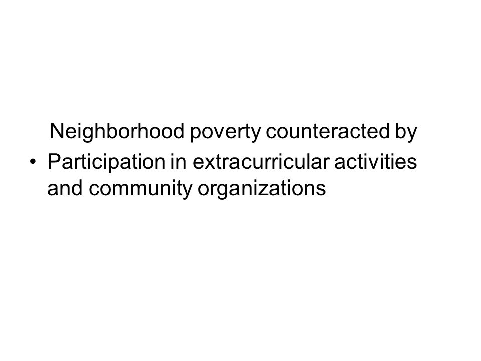 Neighborhood poverty counteracted by Participation in extracurricular activities and community organizations