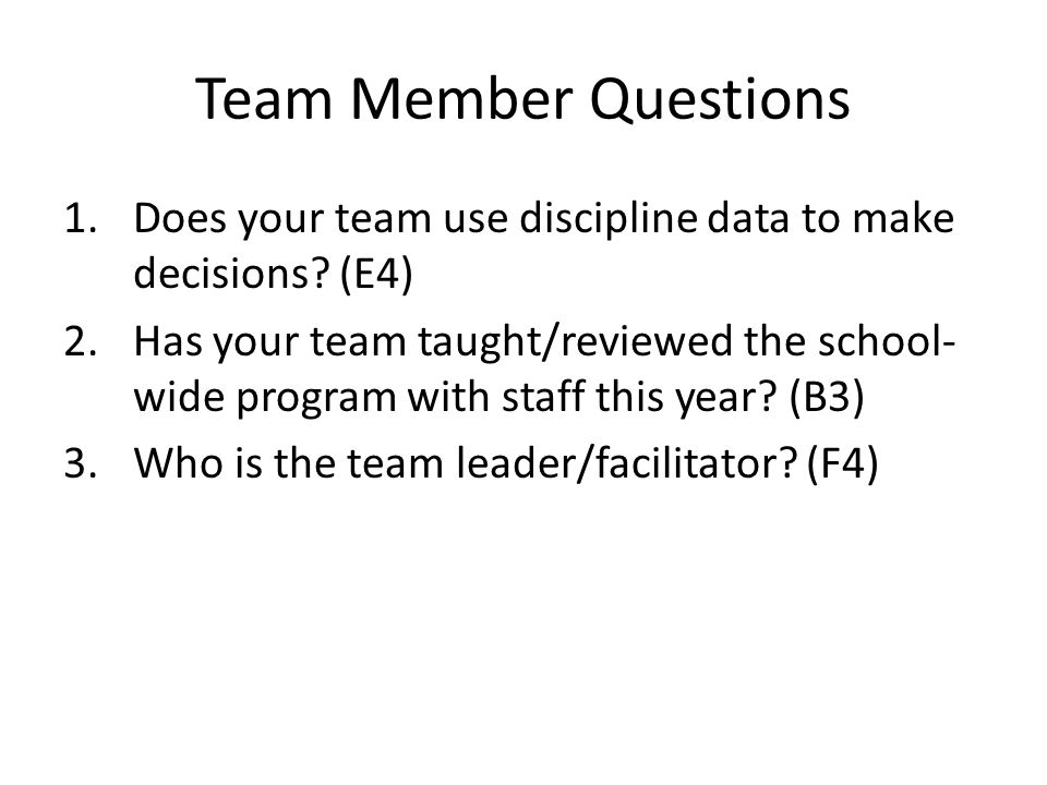 Team Member Questions 1.Does your team use discipline data to make decisions.
