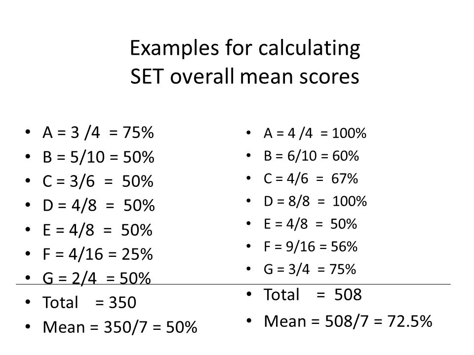 Examples for calculating SET overall mean scores A = 3 /4 = 75% B = 5/10 = 50% C = 3/6 = 50% D = 4/8 = 50% E = 4/8 = 50% F = 4/16 = 25% G = 2/4 = 50% Total = 350 Mean = 350/7 = 50% A = 4 /4 = 100% B = 6/10 = 60% C = 4/6 = 67% D = 8/8 = 100% E = 4/8 = 50% F = 9/16 = 56% G = 3/4 = 75% Total = 508 Mean = 508/7 = 72.5%