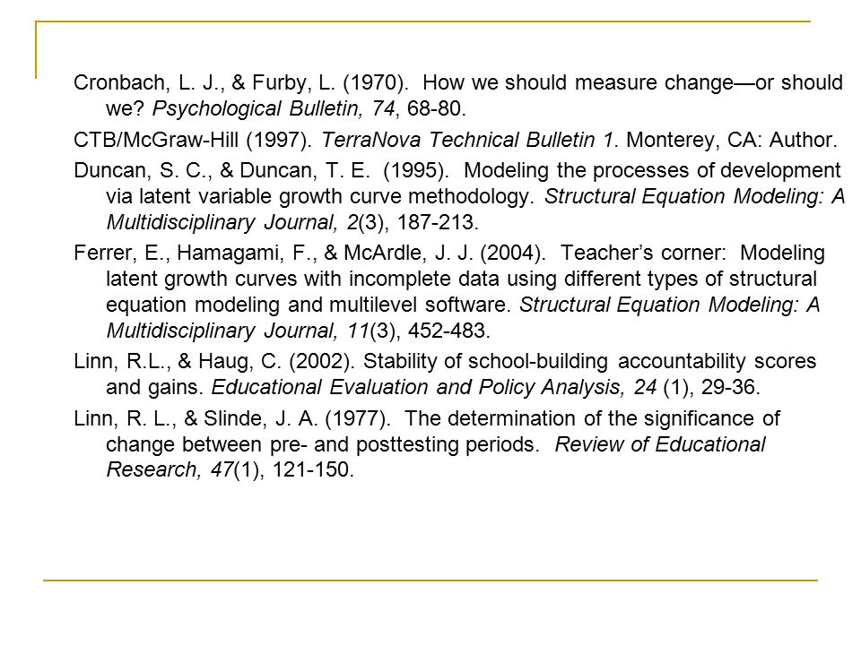 Cronbach, L. J., & Furby, L. (1970). How we should measure change—or should we? Psychological Bulletin, 74, 68-80. CTB/McGraw-Hill (1997). TerraNova T