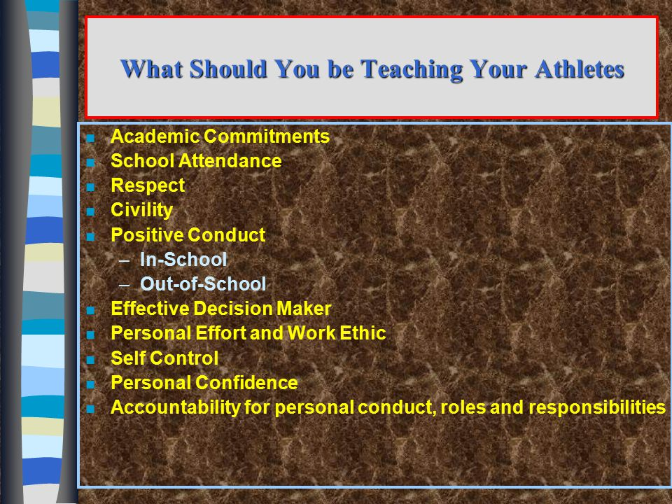 Program Philosophy (Continued) n All athletic experiences must be viewed in terms of of the middle school student and not the parents and / or the coaches THE DEVELOPMENTAL NEEDS of the middle school student and not the parents and / or the coaches Competition is kept in perspective!!!!!!!!!!!!!