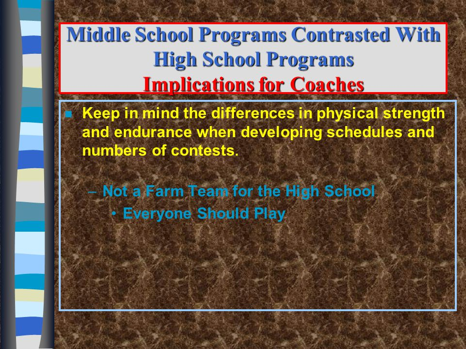 What Should You be Teaching Your Athletes n Academic Commitments n School Attendance n Respect n Civility n Positive Conduct –In-School –Out-of-School n Effective Decision Maker n Personal Effort and Work Ethic n Self Control n Personal Confidence n Accountability for personal conduct, roles and responsibilities