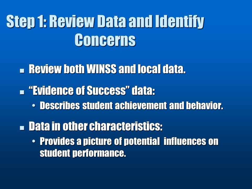 Step 1: Review Data and Identify Concerns Review both WINSS and local data.