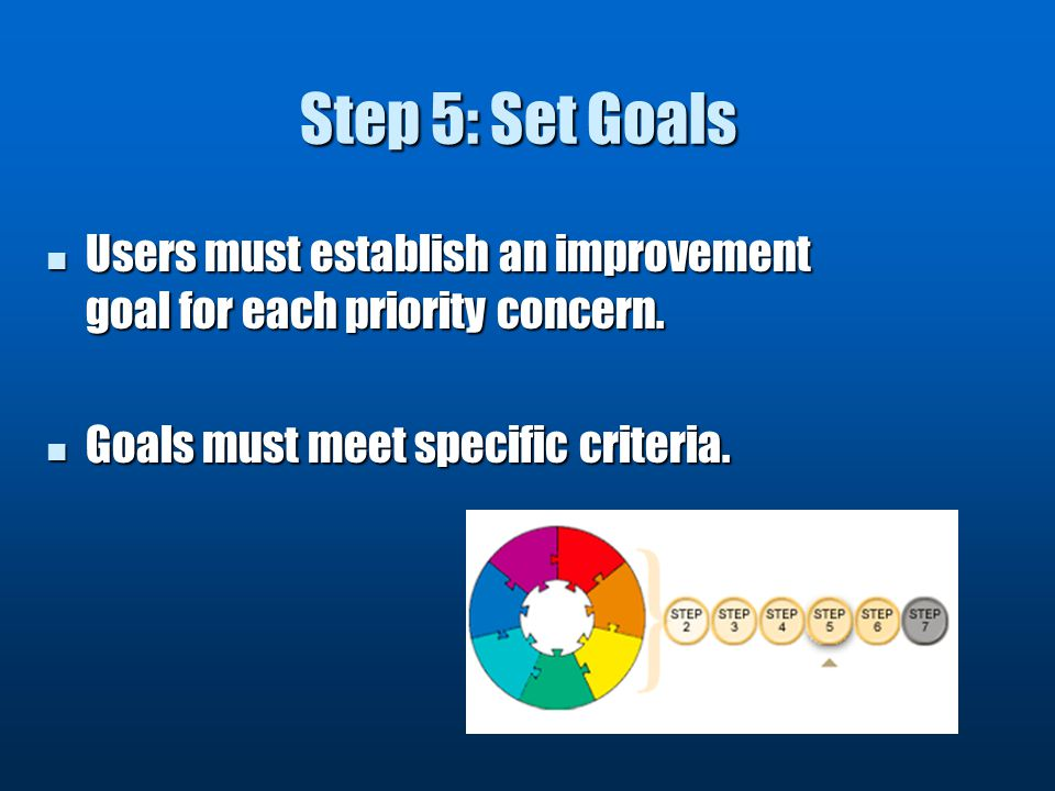 Step 5: Set Goals Users must establish an improvement goal for each priority concern.