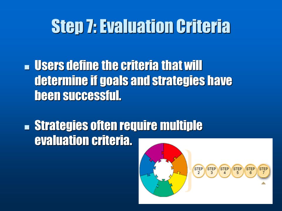 Step 7: Evaluation Criteria Users define the criteria that will determine if goals and strategies have been successful.