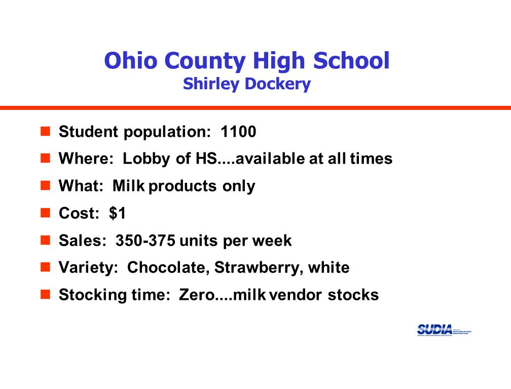 Ohio County High School Shirley Dockery nStudent population: 1100 nWhere: Lobby of HS....available at all times nWhat: Milk products only nCost: $1 nSales: 350-375 units per week nVariety: Chocolate, Strawberry, white nStocking time: Zero....milk vendor stocks