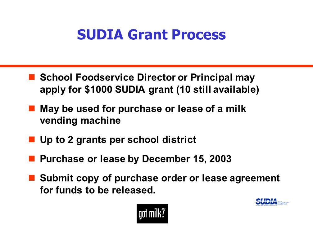 SUDIA Grant Process nSchool Foodservice Director or Principal may apply for $1000 SUDIA grant (10 still available) nMay be used for purchase or lease of a milk vending machine nUp to 2 grants per school district nPurchase or lease by December 15, 2003 nSubmit copy of purchase order or lease agreement for funds to be released.