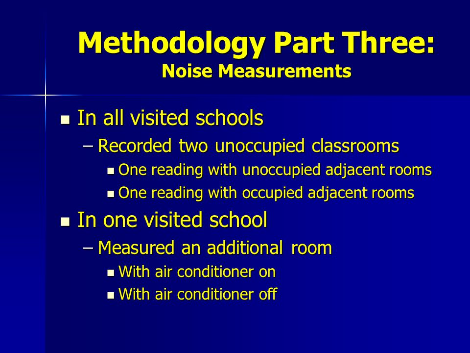 Methodology Part Three: Noise Measurements In all visited schools In all visited schools –Recorded two unoccupied classrooms One reading with unoccupied adjacent rooms One reading with unoccupied adjacent rooms One reading with occupied adjacent rooms One reading with occupied adjacent rooms In one visited school In one visited school –Measured an additional room With air conditioner on With air conditioner on With air conditioner off With air conditioner off