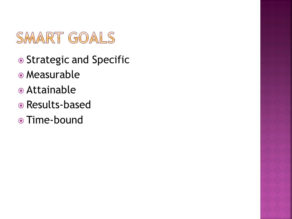  Strategic and Specific  Measurable  Attainable  Results-based  Time-bound