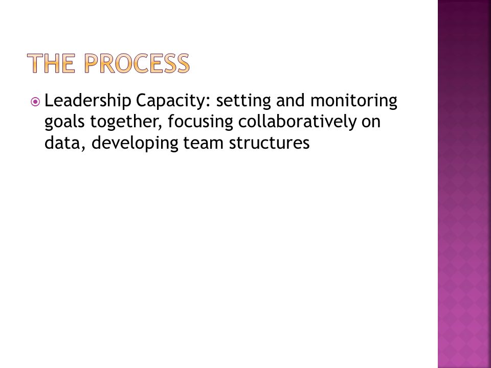  Leadership Capacity: setting and monitoring goals together, focusing collaboratively on data, developing team structures