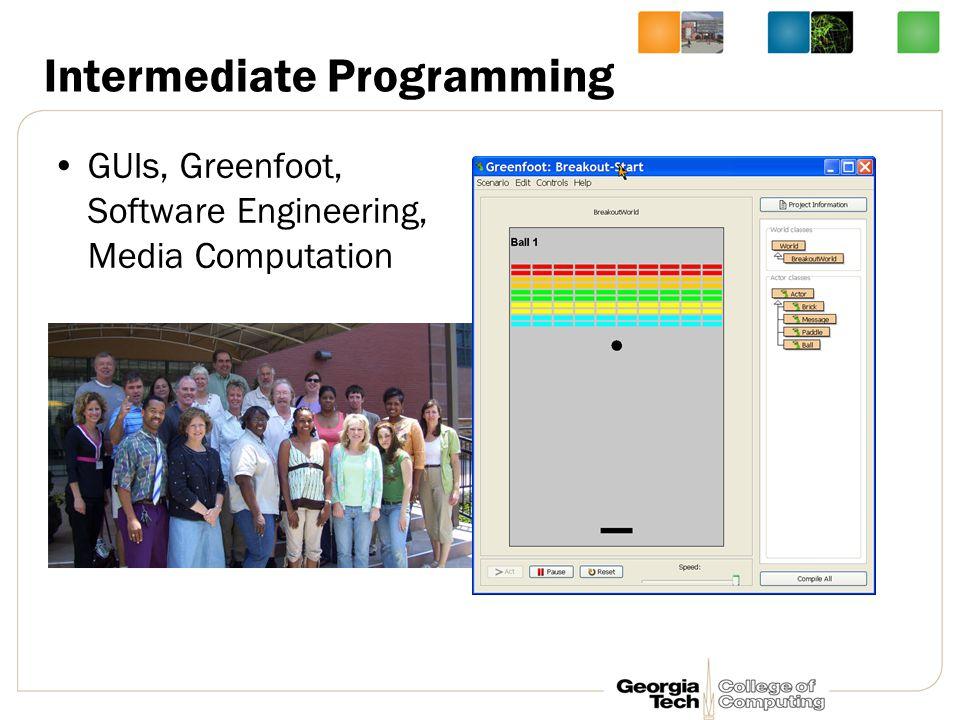 Intermediate Programming GUIs, Greenfoot, Software Engineering, Media Computation