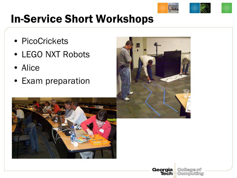 In-Service Short Workshops PicoCrickets LEGO NXT Robots Alice Exam preparation