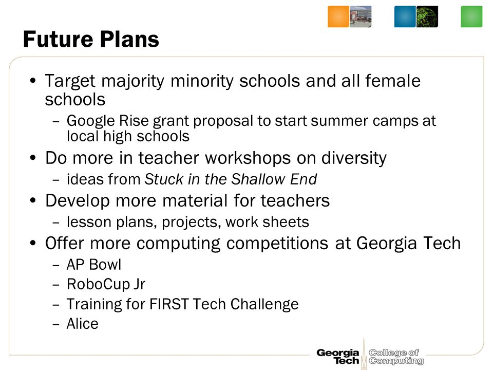 Future Plans Target majority minority schools and all female schools –Google Rise grant proposal to start summer camps at local high schools Do more in teacher workshops on diversity –ideas from Stuck in the Shallow End Develop more material for teachers –lesson plans, projects, work sheets Offer more computing competitions at Georgia Tech –AP Bowl –RoboCup Jr –Training for FIRST Tech Challenge –Alice