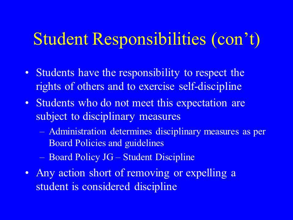 Student Responsibilities (con't) Students have the responsibility to respect the rights of others and to exercise self-discipline Students who do not meet this expectation are subject to disciplinary measures –Administration determines disciplinary measures as per Board Policies and guidelines –Board Policy JG – Student Discipline Any action short of removing or expelling a student is considered discipline