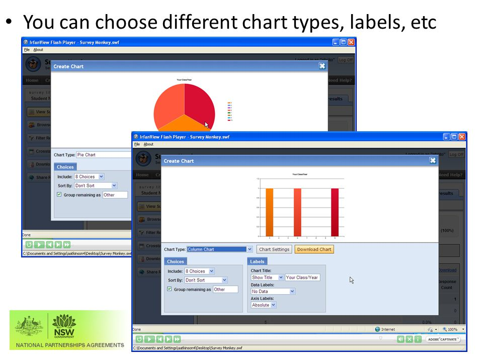 You can choose different chart types, labels, etc Educational Measurement and School Accountability Directorate (EMSAD)