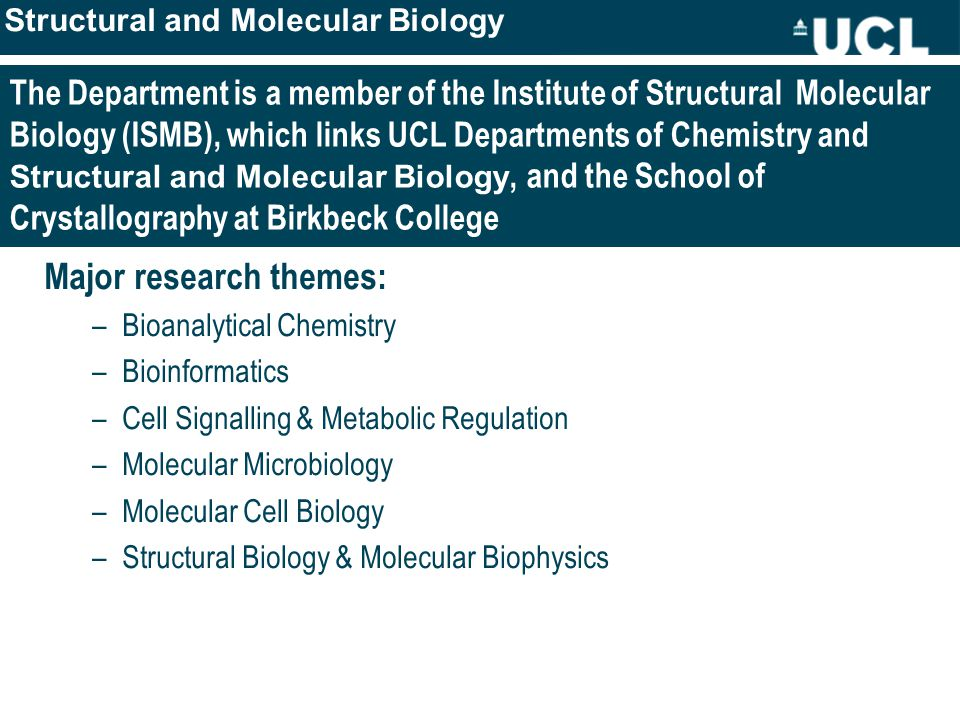 The Department is a member of the Institute of Structural Molecular Biology (ISMB), which links UCL Departments of Chemistry and Structural and Molecular Biology, and the School of Crystallography at Birkbeck College Major research themes: –Bioanalytical Chemistry –Bioinformatics –Cell Signalling & Metabolic Regulation –Molecular Microbiology –Molecular Cell Biology –Structural Biology & Molecular Biophysics Structural and Molecular Biology