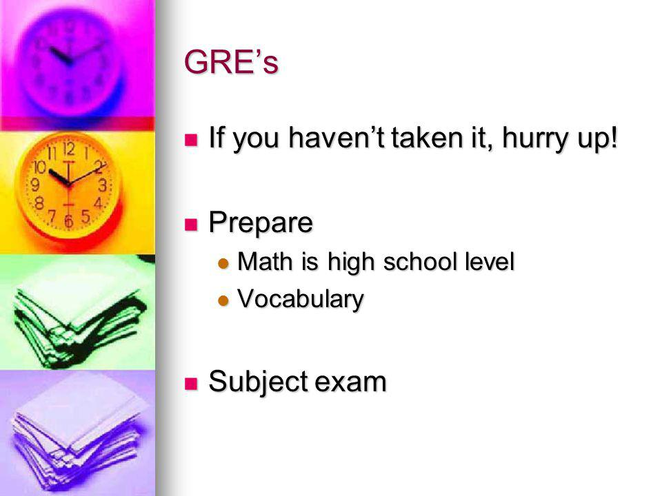 GRE's If you haven't taken it, hurry up. If you haven't taken it, hurry up.