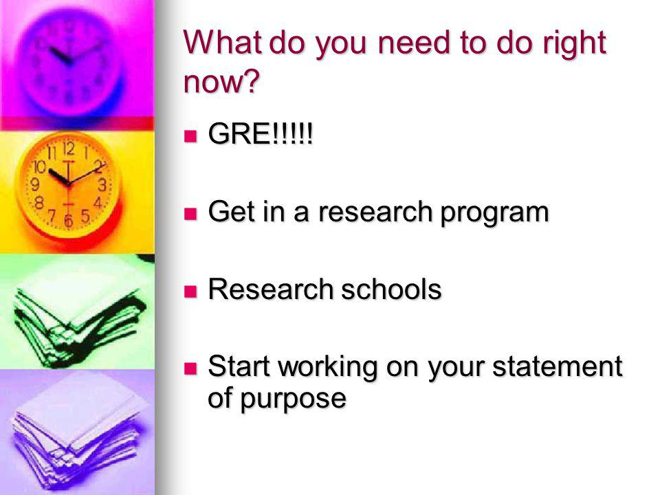 What do you need to do right now. GRE!!!!. GRE!!!!.