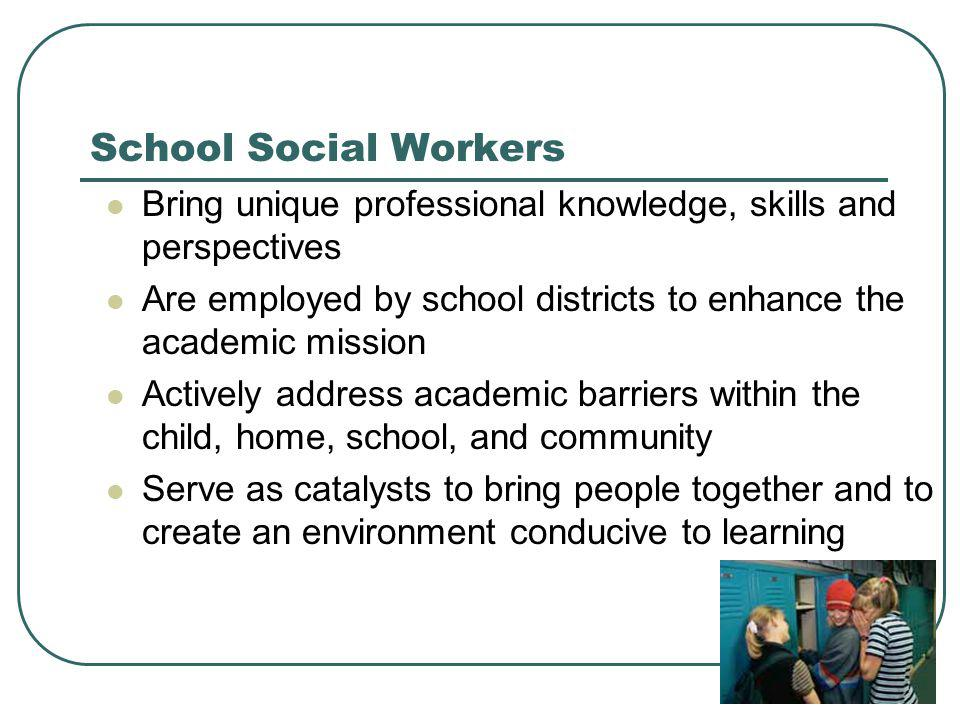 School Social Work Services HELP STUDENTS:  Cope  Access services  Become resilient, successful learners  Gain personal and social competencies SUPPORT PARENTS:  Participate in education  Understand needs  Access resources  Strengthen parenting skills