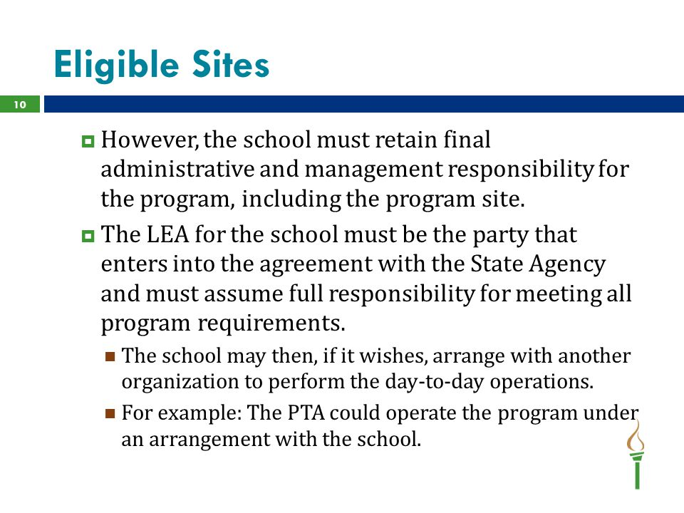 Eligible Sites  However, the school must retain final administrative and management responsibility for the program, including the program site.