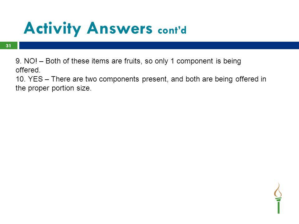 Activity Answers cont'd 31 9.NO.