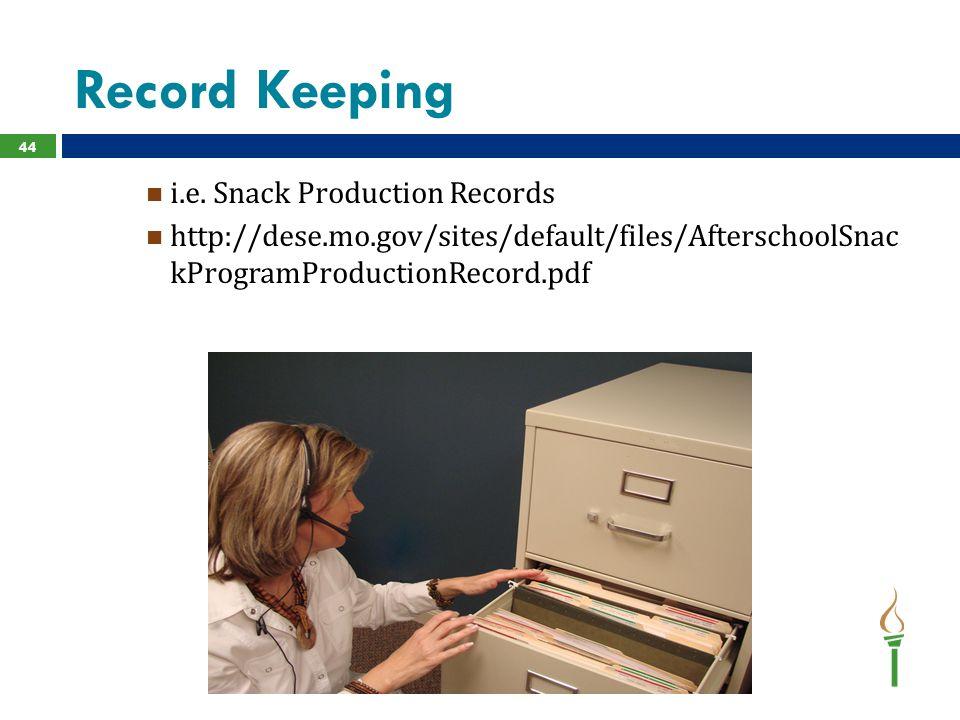 Record Keeping i.e.