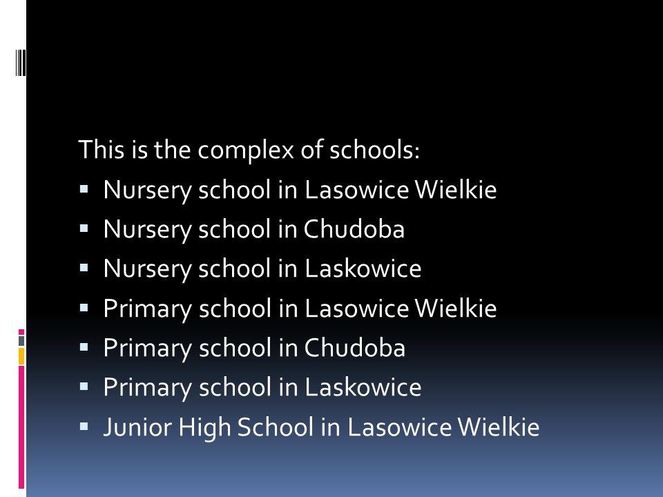 This is the complex of schools:  Nursery school in Lasowice Wielkie  Nursery school in Chudoba  Nursery school in Laskowice  Primary school in Lasowice Wielkie  Primary school in Chudoba  Primary school in Laskowice  Junior High School in Lasowice Wielkie