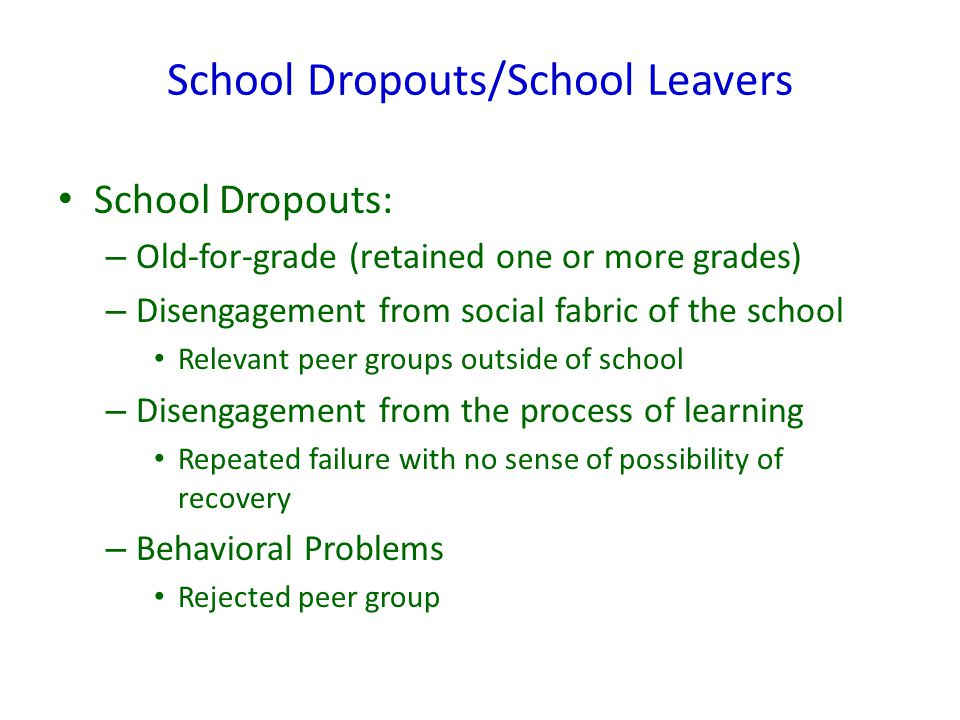 School Dropouts/School Leavers School Dropouts: – Old-for-grade (retained one or more grades) – Disengagement from social fabric of the school Relevan