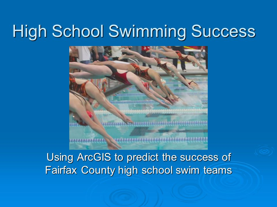 Executive Summary  Predict the success of a high school swim team based on the quantity of summer league swimmers that feed a particular school  Determine how high schools are actually performing based on these predictions