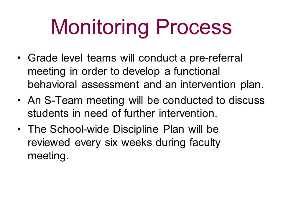 Monitoring Process Grade level teams will conduct a pre-referral meeting in order to develop a functional behavioral assessment and an intervention pl