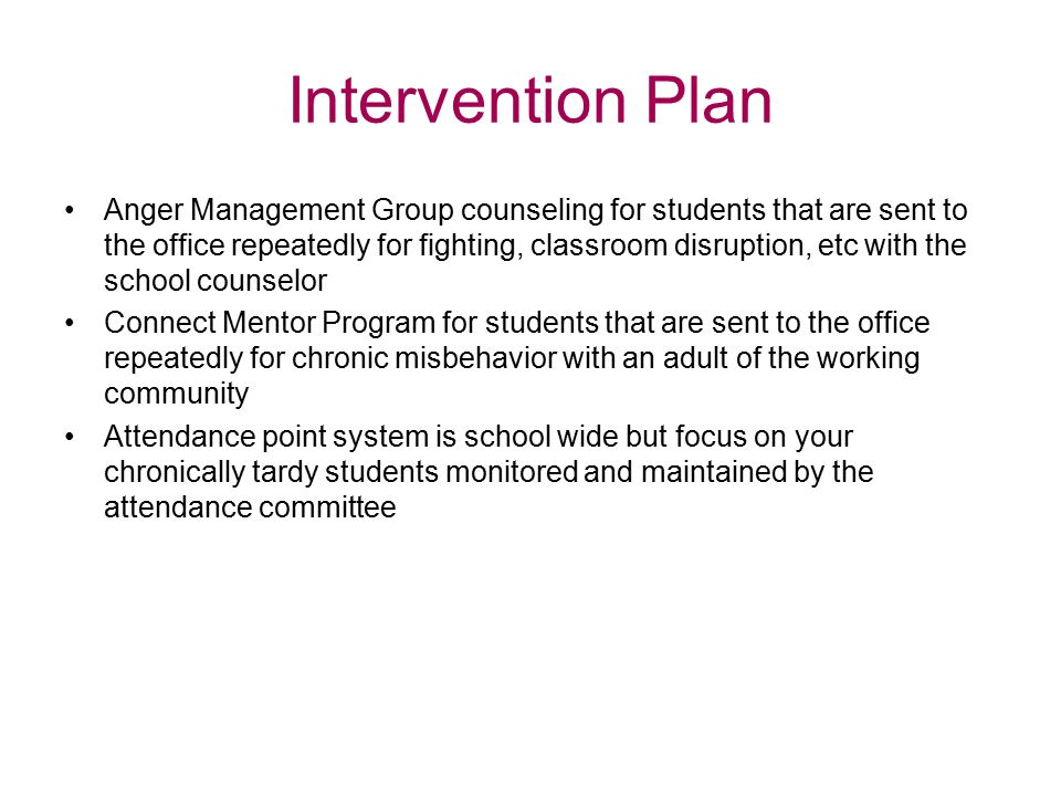 Intervention Plan Anger Management Group counseling for students that are sent to the office repeatedly for fighting, classroom disruption, etc with t