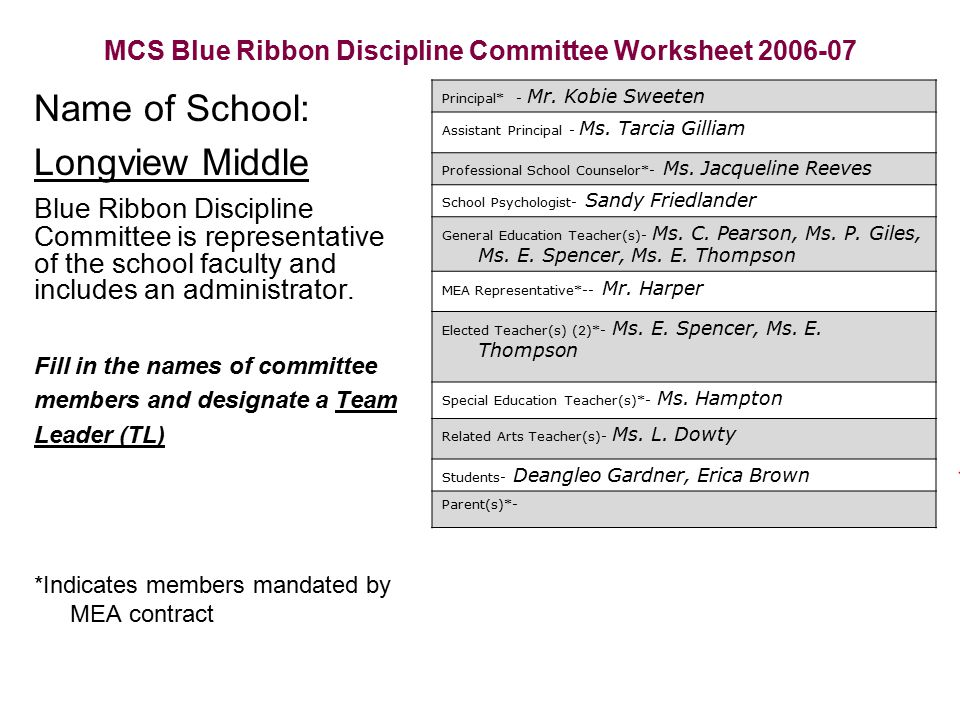 MCS Blue Ribbon Discipline Committee Worksheet 2006-07 Name of School: Longview Middle Blue Ribbon Discipline Committee is representative of the schoo