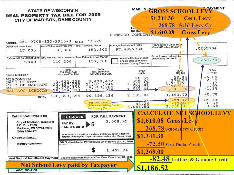 GROSS SCHOOL LEVY $1,341.30 Cert.