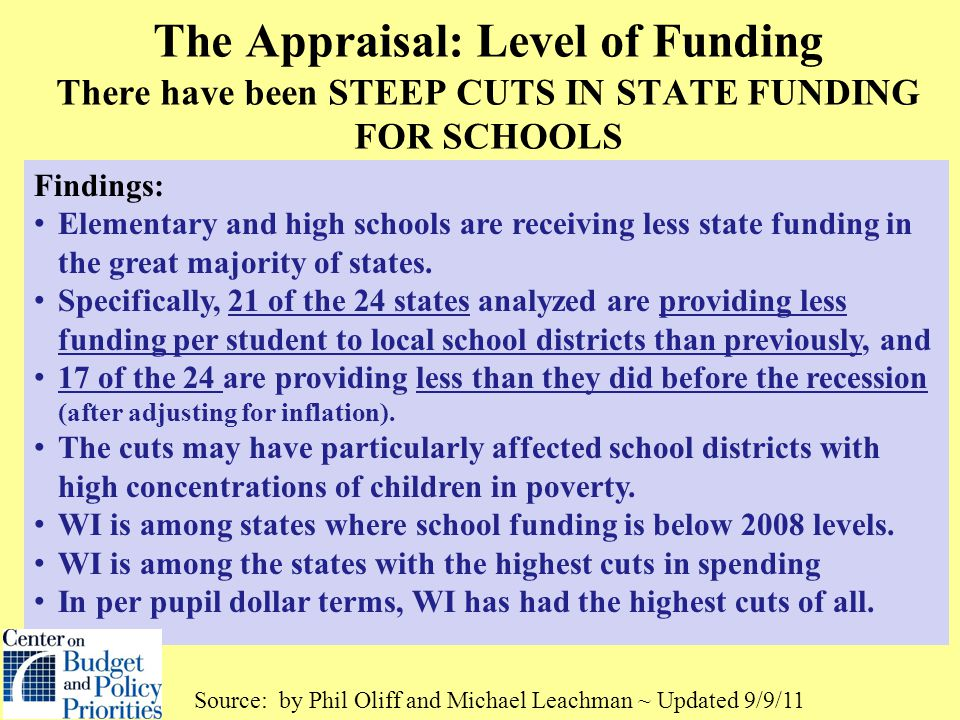 The Appraisal: Level of Funding There have been STEEP CUTS IN STATE FUNDING FOR SCHOOLS Findings: Elementary and high schools are receiving less state