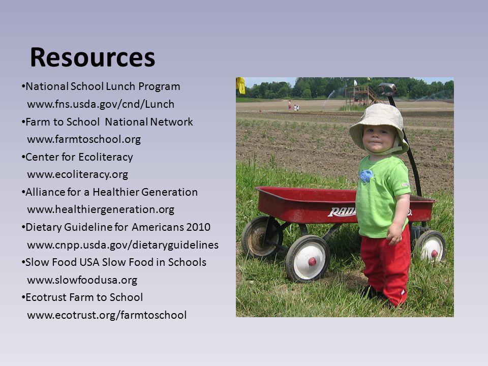 Resources National School Lunch Program www.fns.usda.gov/cnd/Lunch Farm to School National Network www.farmtoschool.org Center for Ecoliteracy www.eco