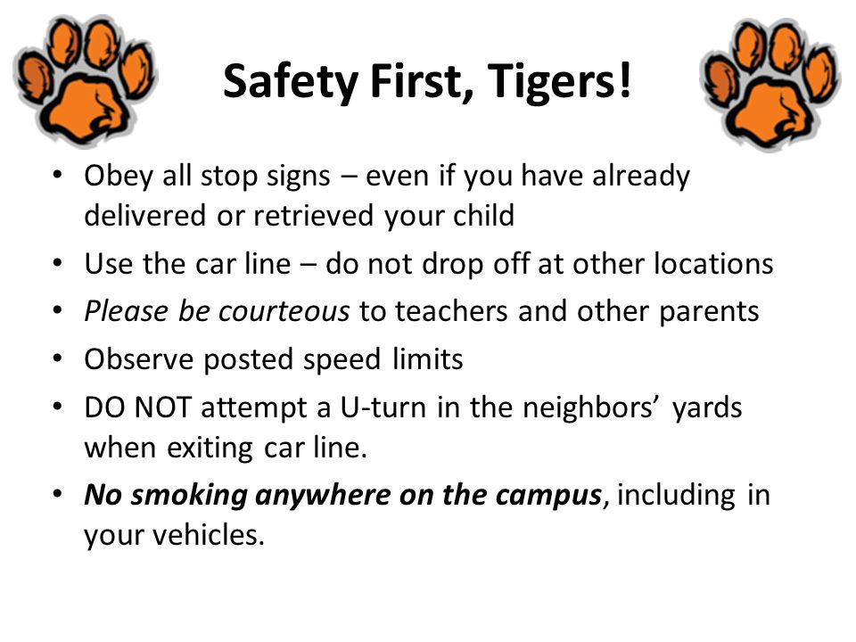 Safety First, Tigers.