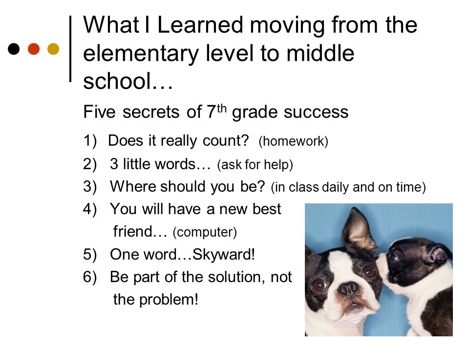 What I Learned moving from the elementary level to middle school… Five secrets of 7 th grade success 1) Does it really count? (homework) 2) 3 little w