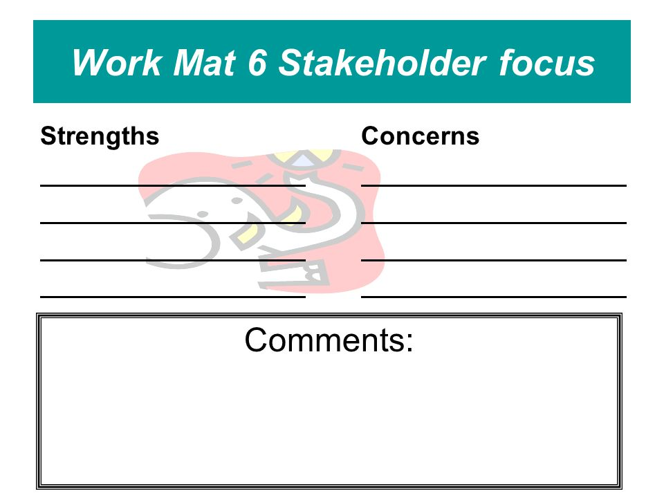 Work Mat 6 Stakeholder focus StrengthsConcerns Comments:
