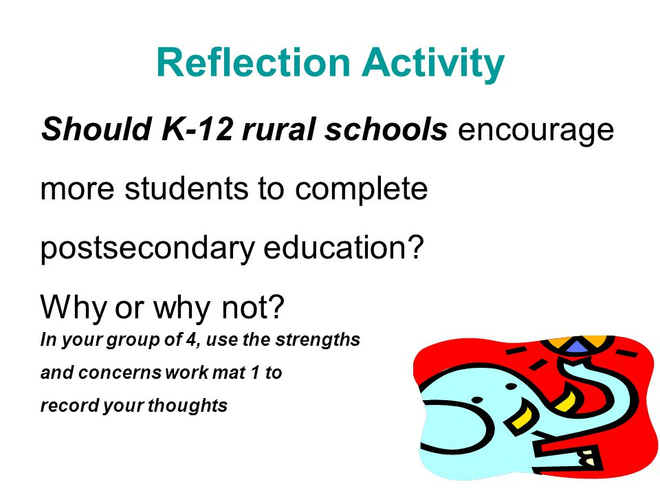 Reflection Activity Should K-12 rural schools encourage more students to complete postsecondary education.