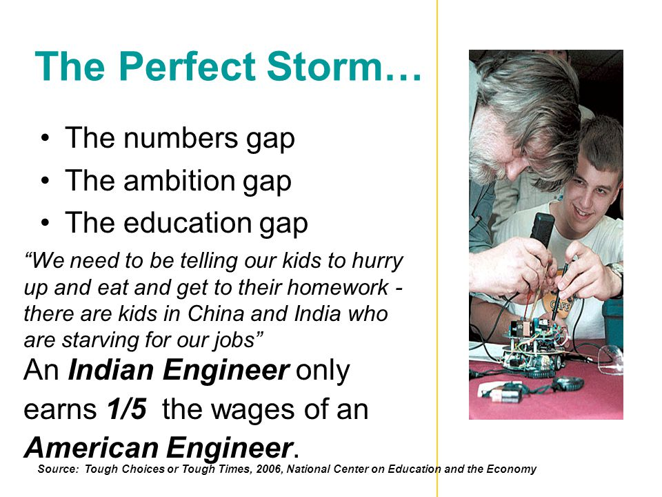 The Perfect Storm… The numbers gap The ambition gap The education gap We need to be telling our kids to hurry up and eat and get to their homework - there are kids in China and India who are starving for our jobs An Indian Engineer only earns 1/5 the wages of an American Engineer.