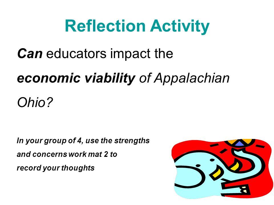 Reflection Activity Can educators impact the economic viability of Appalachian Ohio.