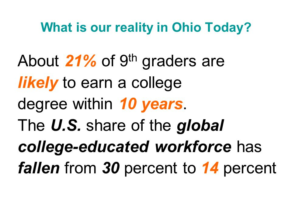 What is our reality in Ohio Today.