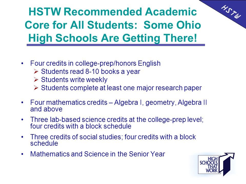 HSTW Recommended Academic Core for All Students: Some Ohio High Schools Are Getting There.