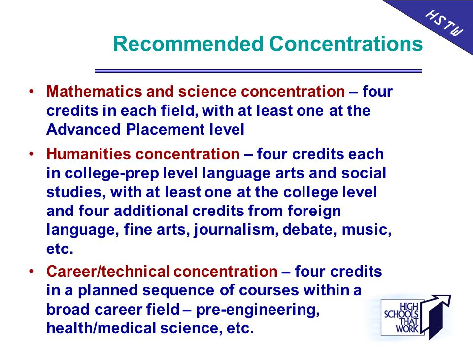 Recommended Concentrations HSTW Mathematics and science concentration – four credits in each field, with at least one at the Advanced Placement level Humanities concentration – four credits each in college-prep level language arts and social studies, with at least one at the college level and four additional credits from foreign language, fine arts, journalism, debate, music, etc.