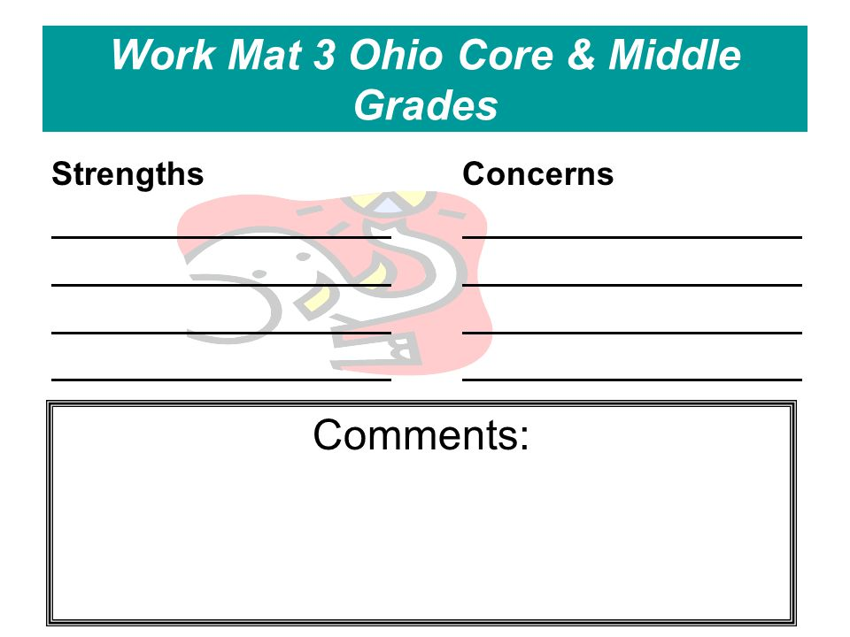 Work Mat 3 Ohio Core & Middle Grades StrengthsConcerns Comments: