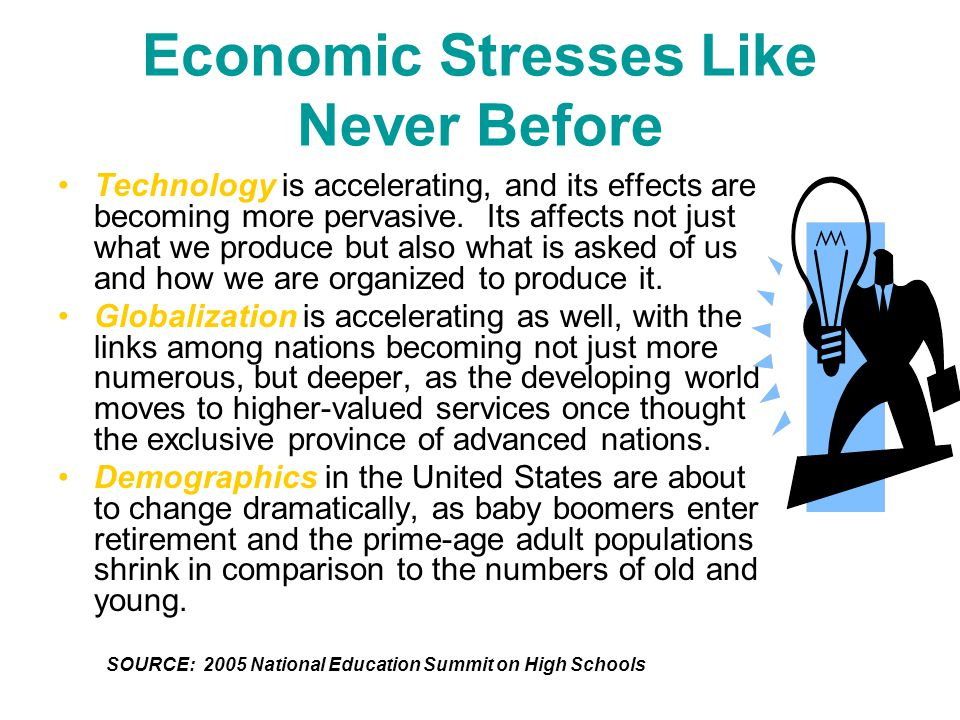 Economic Stresses Like Never Before Technology is accelerating, and its effects are becoming more pervasive.