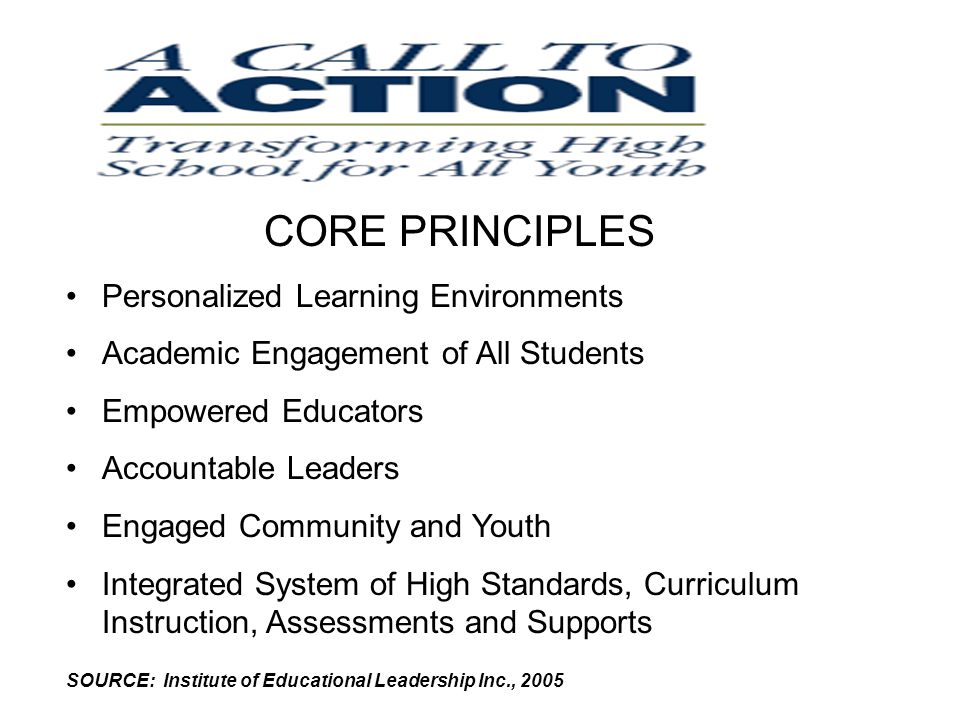 CORE PRINCIPLES Personalized Learning Environments Academic Engagement of All Students Empowered Educators Accountable Leaders Engaged Community and Youth Integrated System of High Standards, Curriculum Instruction, Assessments and Supports SOURCE: Institute of Educational Leadership Inc., 2005