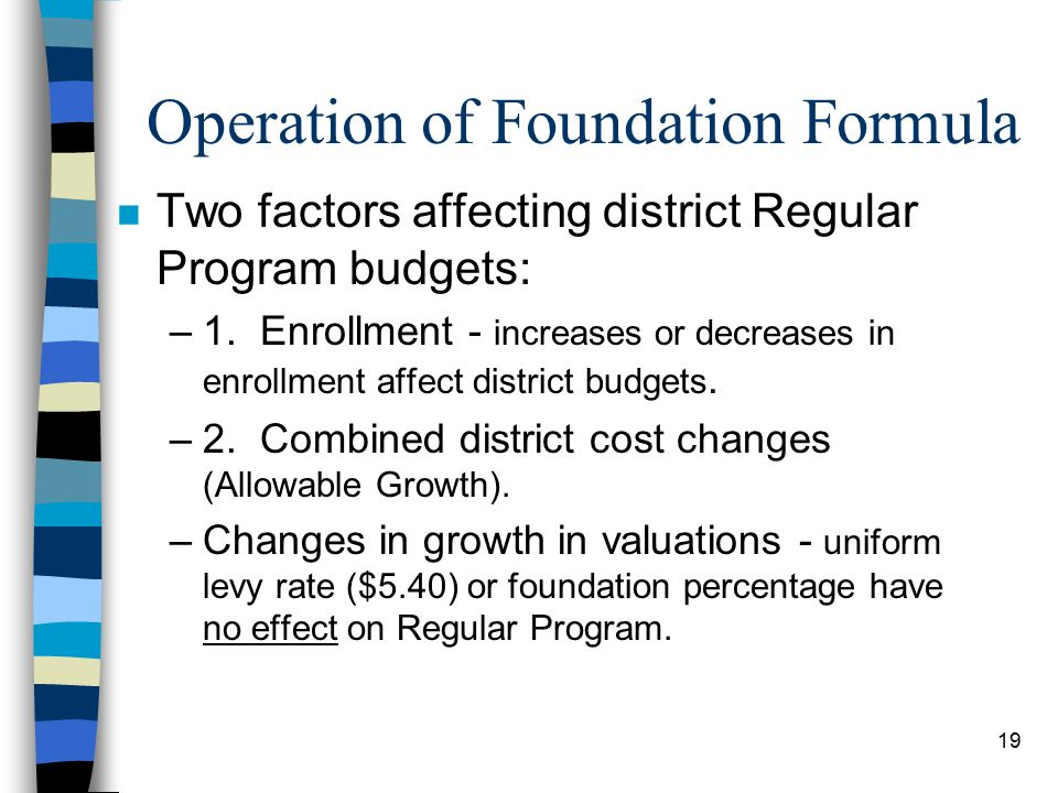 19 Operation of Foundation Formula n Two factors affecting district Regular Program budgets: –1.